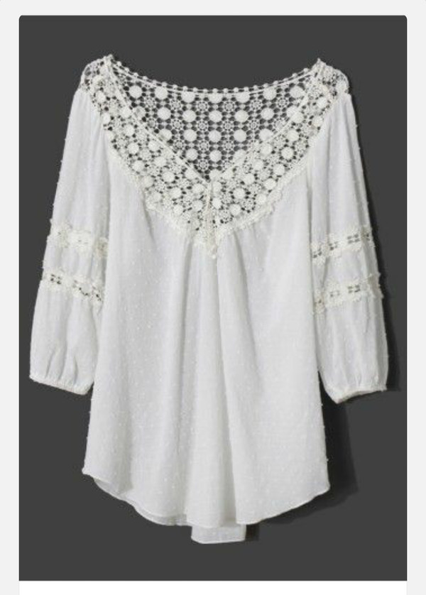 blouse white vintage beautiful flowy lace long sleve long sleeves summer light weight