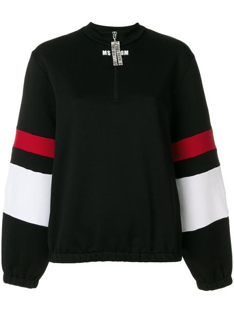 MSGM - zip collar striped sleeve sweatshirt - women - Cotton/Polyamide - L, Black, Cotton/Polyamide