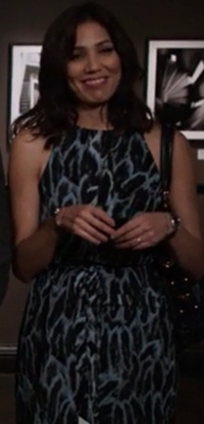 dress bones tv show michaela conlin angela montenegro feather print