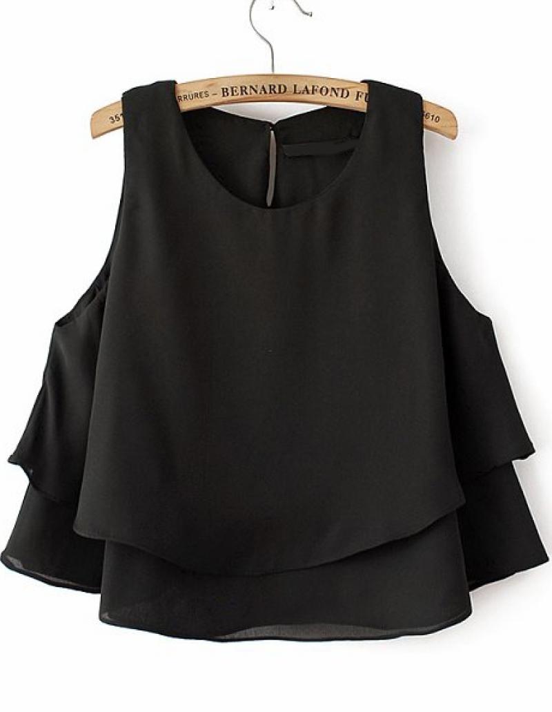 Black Sleeveless Batwing Ruffle Crop Chiffon Vest