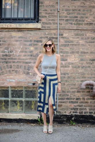see anna jane blogger tank top skirt striped skirt topshop slit skirt