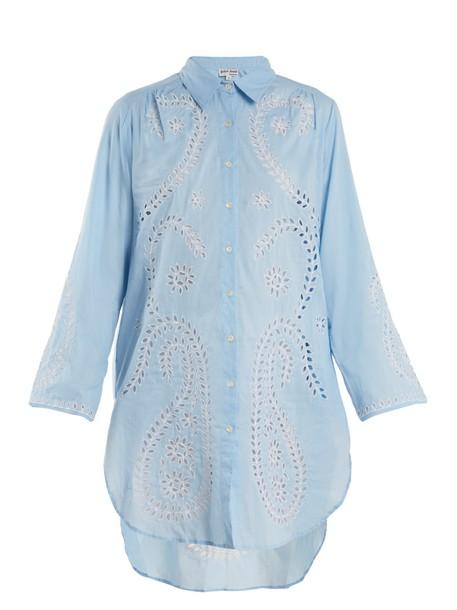 Juliet Dunn shirtdress embroidered cut-out cotton paisley white dress
