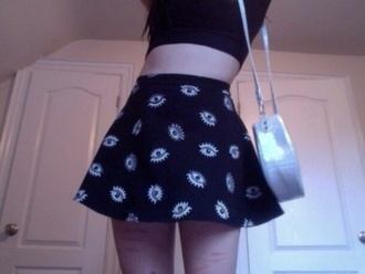 skirt black white circle eyes shirt bag holographic bag