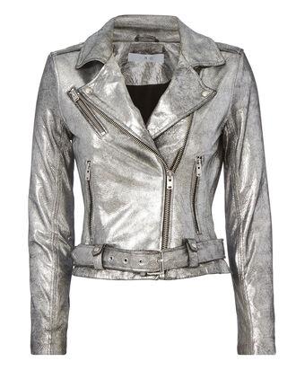 jacket intermix silver leather jacket biker jacket metallic faux leather outerwear coat