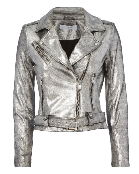 jacket intermix silver leather jacket biker jacket metallic faux leather outerwear coat