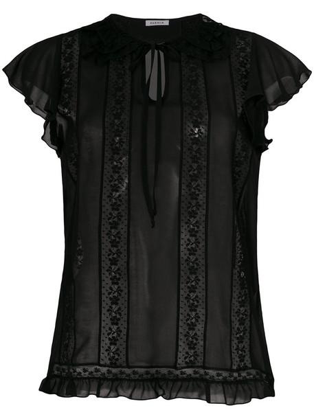 P.A.R.O.S.H. P.A.R.O.S.H. - lace inserts blouse - women - Cotton/Polyamide/Polyester - XL, Black, Cotton/Polyamide/Polyester