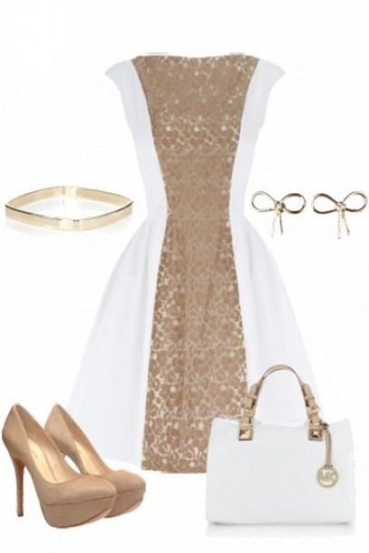 dress white gold a-line fit flare skater semi formal white gold dress same color royal white dress gold dress