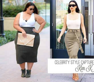 garner style blogger curvy bodycon skirt white top plus size