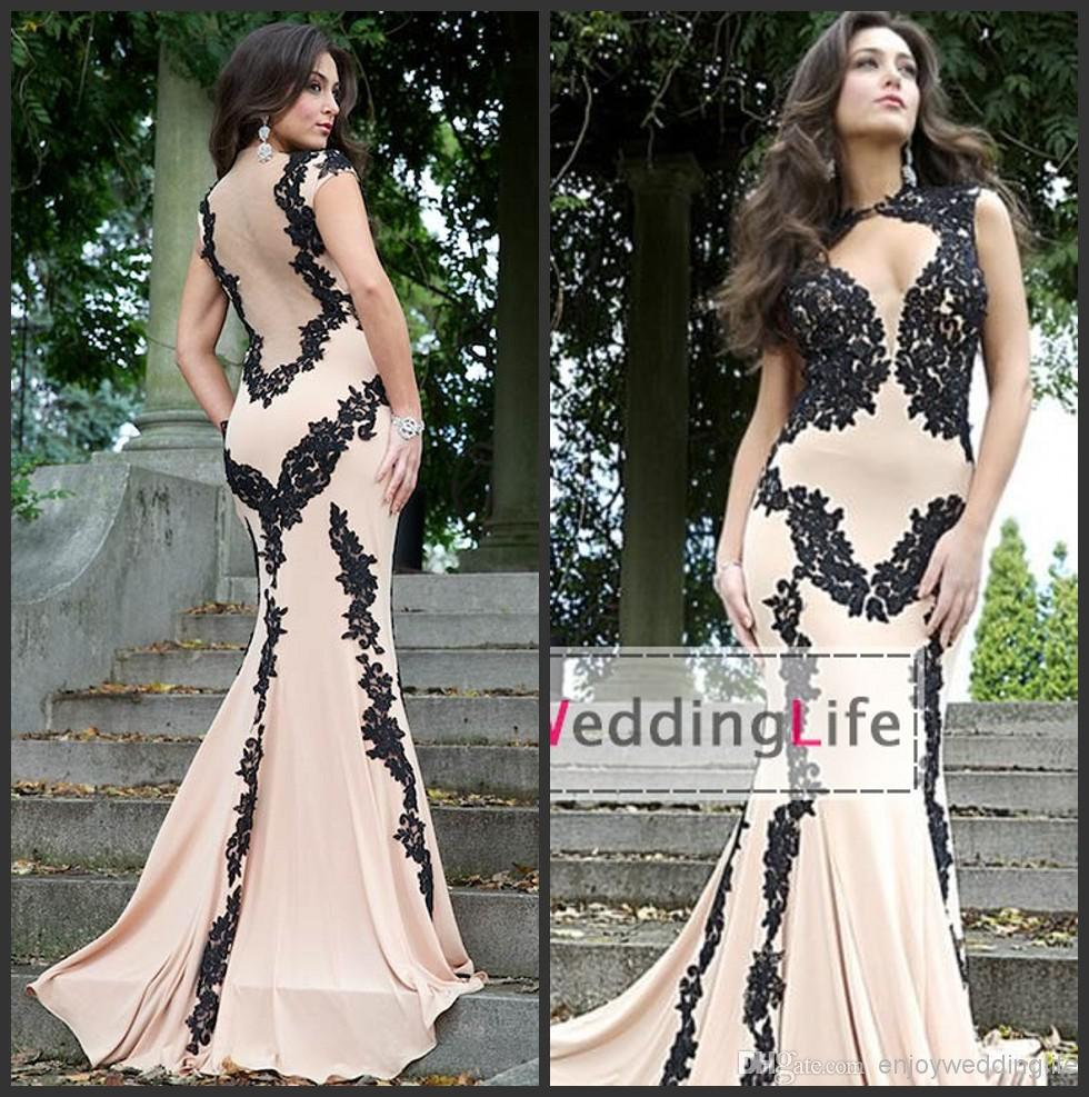Discount 2014 sexy new high neck champange chiffon mermaid evening dresses applique sheer back applique prom gowns jov89902 online with $124.31/piece