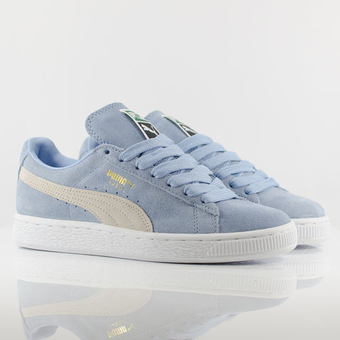 more photos 8ad65 0dcf6 Womens Puma Suede Classic Trainers - Powder Blue/White | eBay
