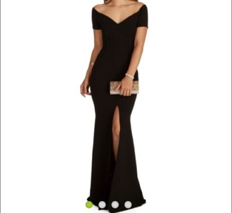 dress black slit dress slit dress black dress maxi maxi dress evening dress prom dress long dress long prom dress black prom dress formal formal dress formal event outfit party dress classy dress elegant dress cocktail dress graduation dress slit cute girly dres girly dress cute dress red carpet red carpet dress