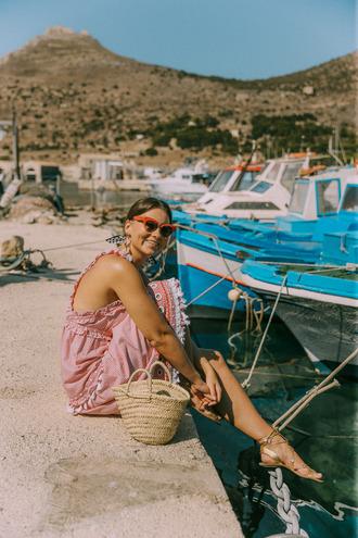 angystearoom blogger dress shoes jewels bag summer dress basket bag sandals summer outfits