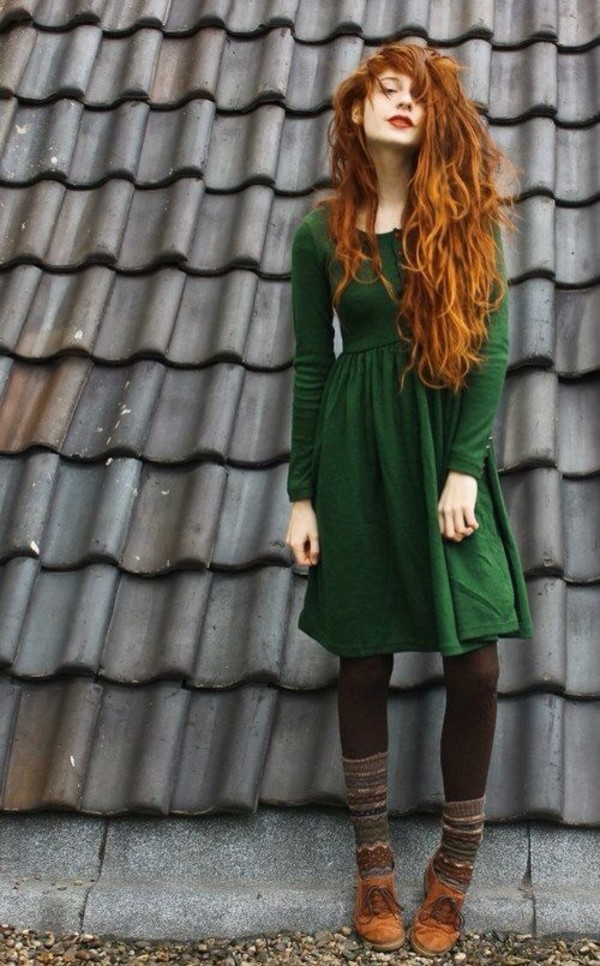 dress green dress green red hair cute dress nadia esra ginger