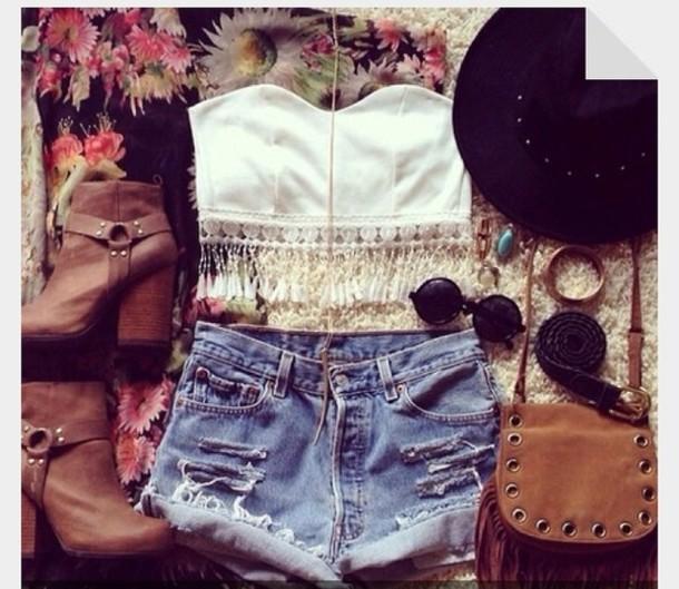 blouse shorts bag shoes sunglasses hat