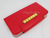 bag,cute phone case,red,gold,studded,studs,phone cover,iphone cover