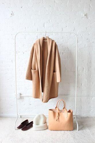 coat camel coat nude nude bag beanie fall colors fall outfits leather tote bag home accessory closet