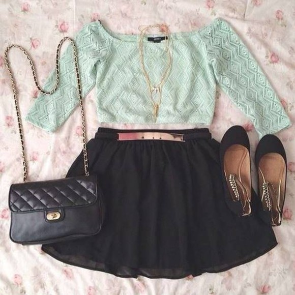 beautiful skirt shirt shoes bag necklace belt