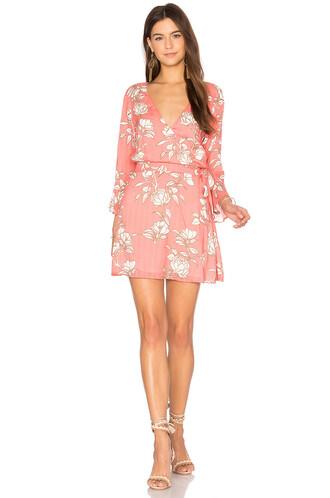 dress wrap dress coral
