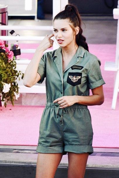 jumpsuit jumpsuit shorts green jumpsuit adriana lima model