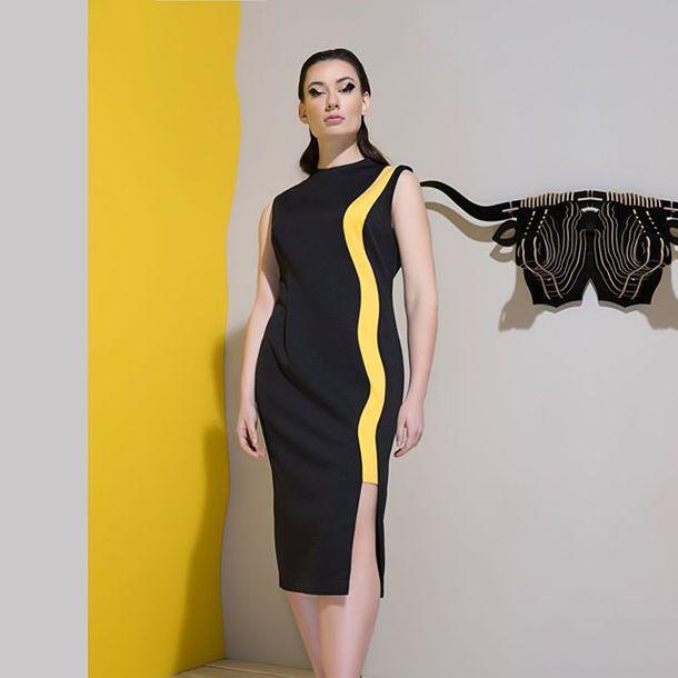 dress, atelier sorokka, black dress, work dress, midi dress, plus ...