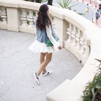 shoes gucci ace sneakers gucci gucci shoes floral sneakers low top sneakers white sneakers dress white dress mini dress vest denim vest bag green bag tamara kalinic blogger