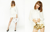 dress,monochrome,white,cream,clutch,envelope clutch,Sequin shorts,blouse,bag,shorts