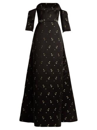gown strapless satin black dress