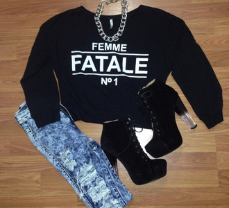 sweater acid wash acid wash jeans high heels platform high heels fatale gold chain ripped jeans shoes jeans jewels