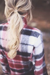 top,flannel shirt,colorful,red white blue,long sleeves,winter sweater,fall sweater,blouse,blonde hair,sweet,cute,ponytail,red,black,grey,white,cream,soft grunge,style,cotton,hairstyles,holiday season