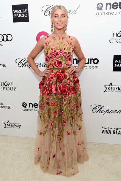 dress gown julianne hough floral dress red carpet dress earrings jewels
