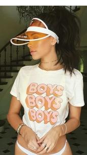 t-shirt,boys boys boys,madison beer,t shirt print,top,shirt,girly,pink,girly tshirt,white,orange
