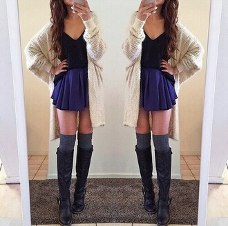 sweater skirt top blouse boots socks autumn fasion beautiful outfit shoes