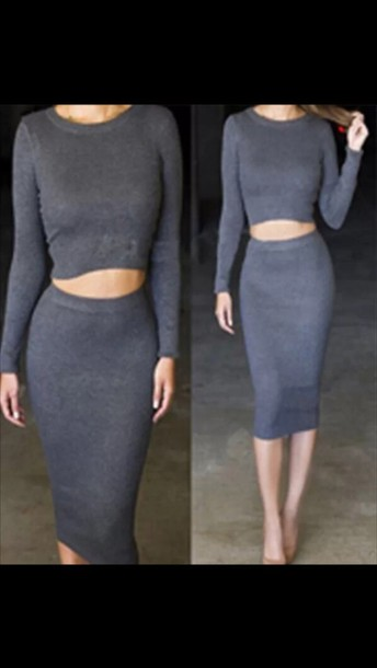 skirt crop tops cropped sweater outfit grey two-piece two piece body con