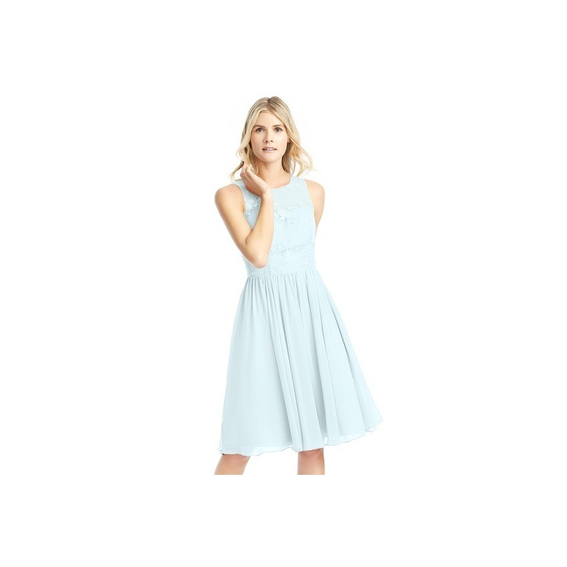Mist Azazie Victoria - Knee Length Scoop Illusion Chiffon And Lace Dress - Charming Bridesmaids Store