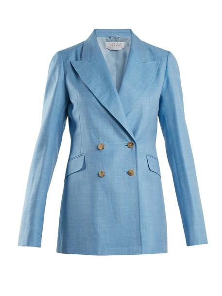 Gabriela Hearst blazer silk wool light blue light blue jacket