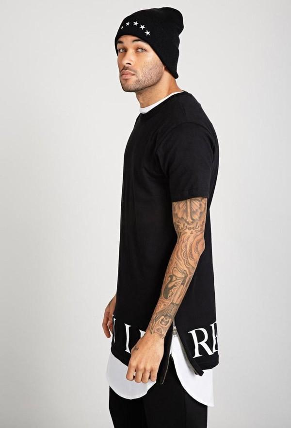 t shirt civil shirt zip long tee black black t shirt. Black Bedroom Furniture Sets. Home Design Ideas