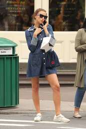 shoes,streetstyle,irina shayk,model off-duty,denim dress,fashion week