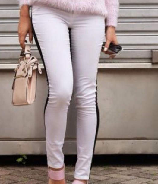 pants black and white leggings stripes sweapants