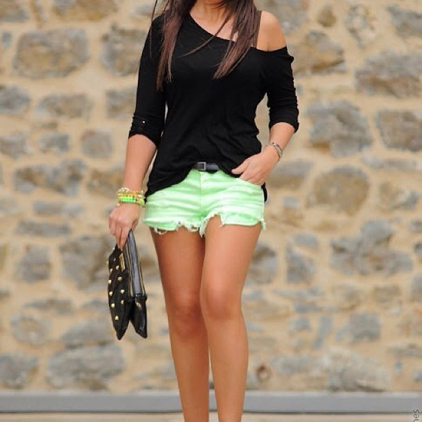 shorts shirt bag mini shorts denim shorts green green shorts black blouse black bag neon green brand shoes lace up heels black top pastel blouse off the shoulder shorts shirt jewelry mint black shirt bright any shirt neon cutoff shorts off the shoulder black top