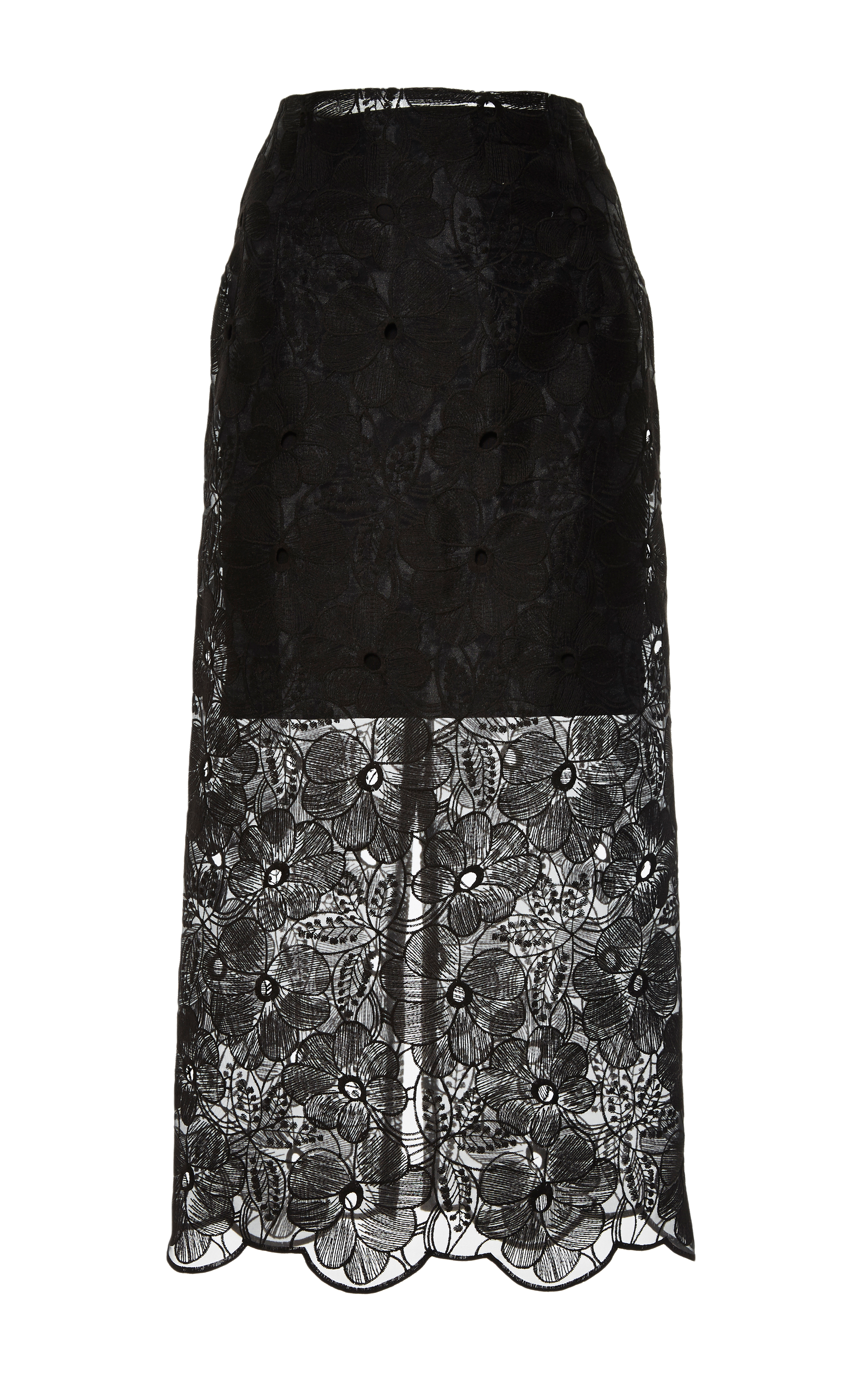 Floral-Embroidered Skirt in Black by Karla Špetic - Moda Operandi