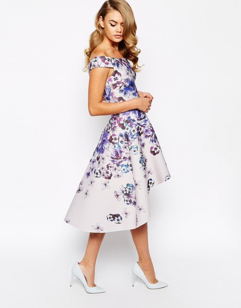 Dress wedding guest high low dresses floral dress for Hi lo dress wedding guest