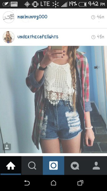 shirt plaid flannel shirt High waisted shorts crochet crop top crop tops crochet