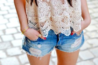 tank top top shorts lace blouse shirt white beautiful girl nail polish red ripped look hipster vintage