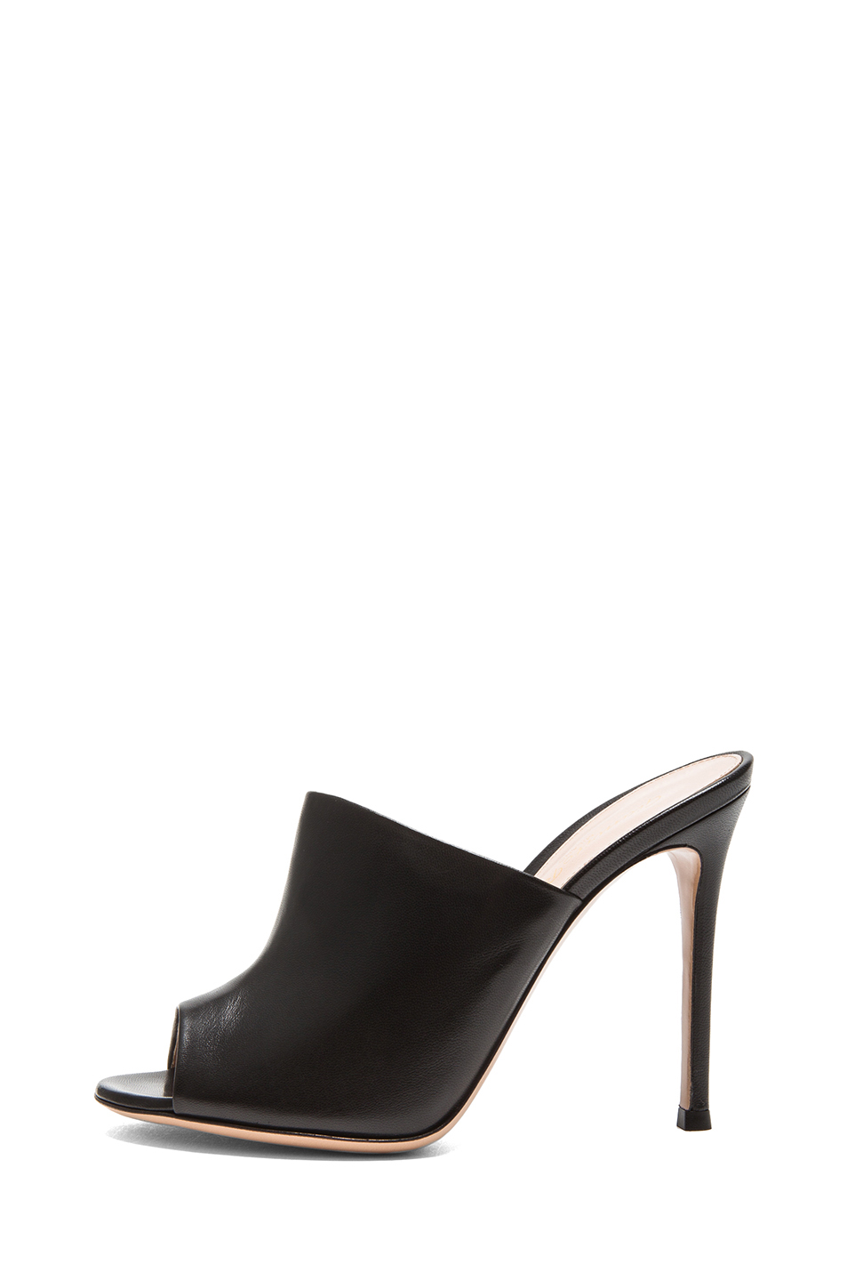 Gianvito Rossi | Leather Mule Heels in Black
