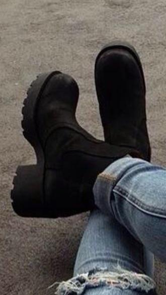shoes black boots chelsea boots black choker