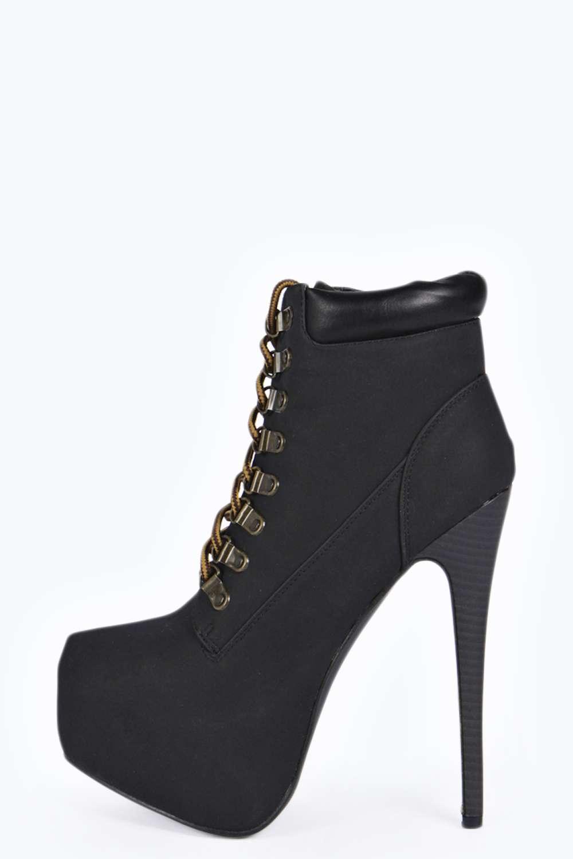 Lace Up Platform Heel Boots