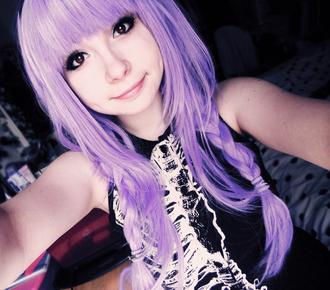 hat pastel pastelgrunge pastelgoth kawaii cute wig lilac lavender purple harajuku girl skeleton shirt