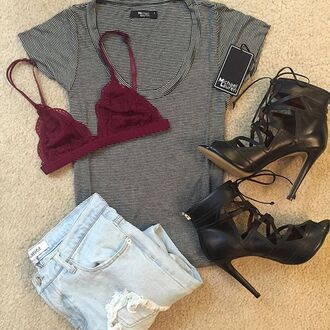 shirt divergence clothing ripped jeans bra fall outfits striped shirt striped t-shirt striped top lace bralette