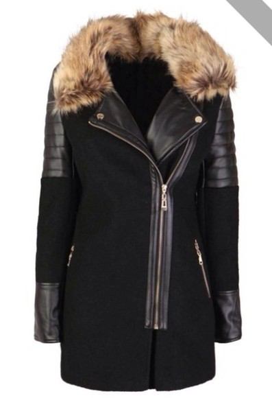 fur black leather hood