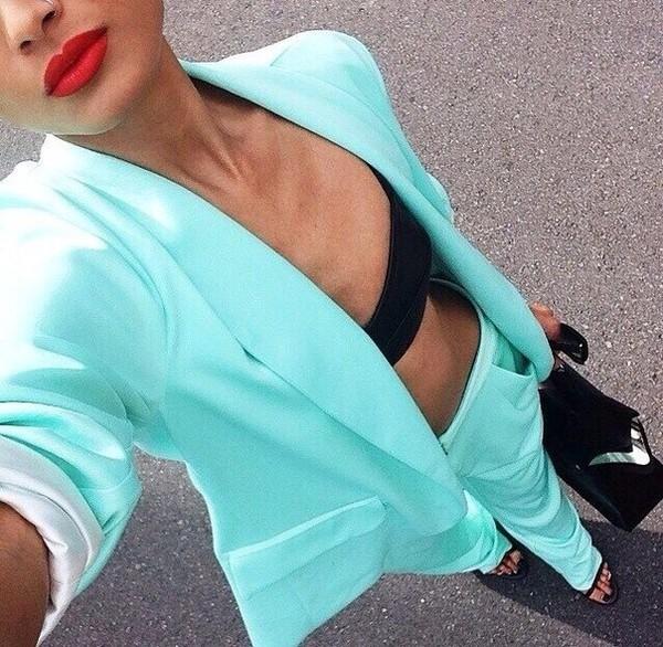 jacket blue mint suit red lipstick pants